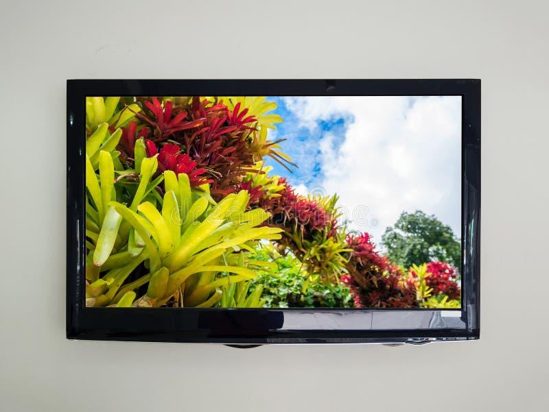 TV llevada en el fondo de la pared imágenes de archivo libres de regalías