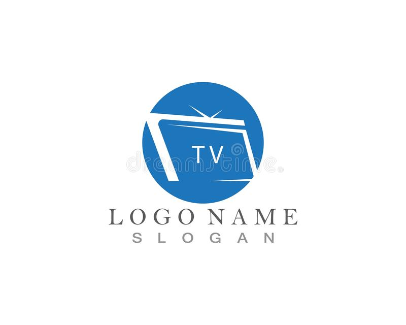 TV logo design flat icon. TV logo design flat icon, app, brand, broadcast, business, cinema, company, concept, creative, display, entertainment, film stock illustration