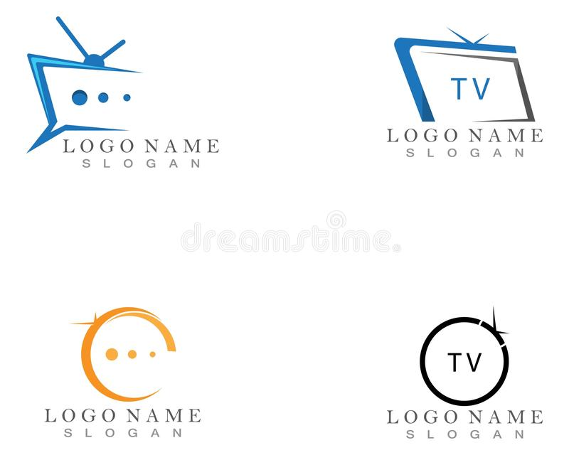 TV logo design flat icon. TV logo design flat icon, app, brand, broadcast, business, cinema, company, concept, creative, display, entertainment, film royalty free illustration