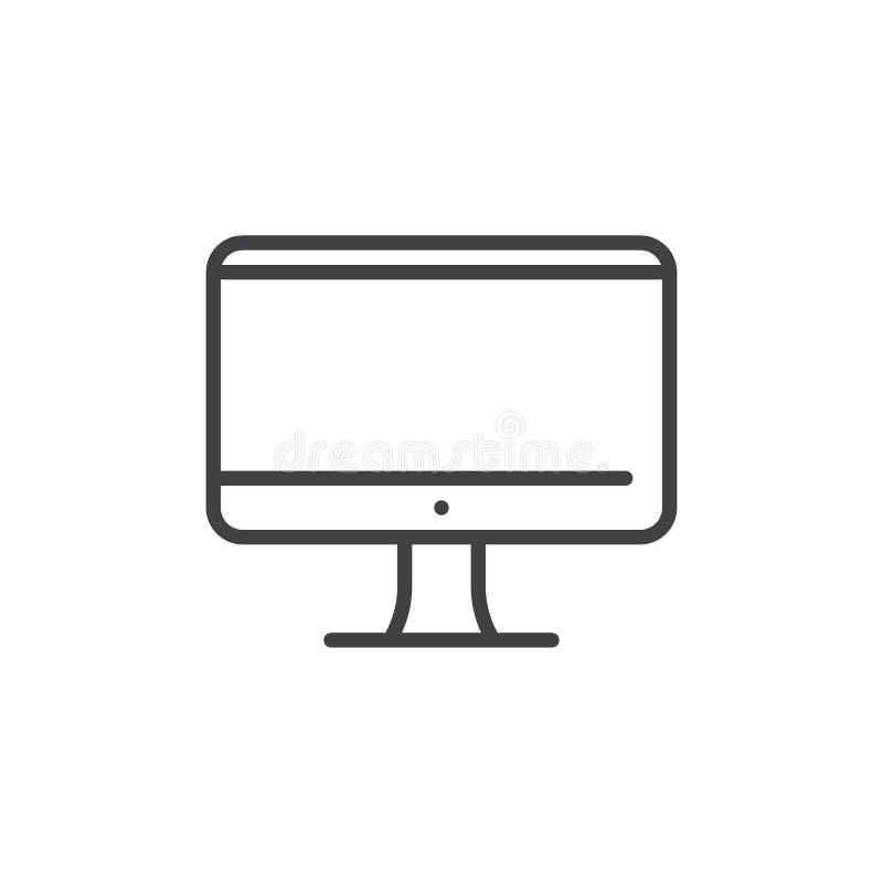 Tv lub monitoru ekranu linii ikona ilustracji