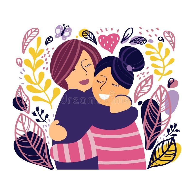 Tv? lyckliga flickor kram och leende stramt bakgrund isolerad white royaltyfri illustrationer