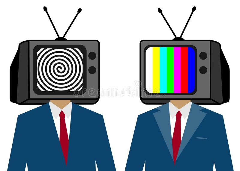 TV instead of a man head. Zombie people. Hypnotized person. stock illustration