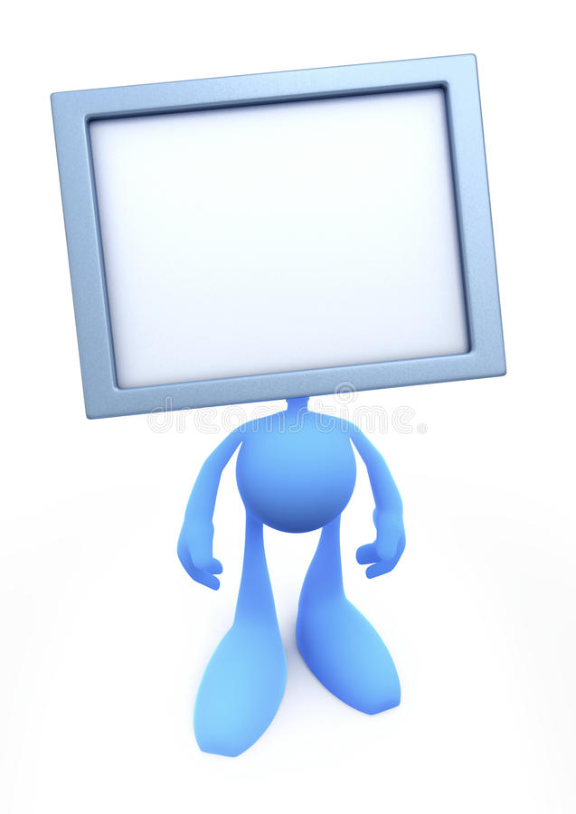 TV-Man (TV-Head). Cartoon man with the tv-screen instead of a head. TV screen was left blank to fill it at your own leisure. 3D rendered image stock illustration