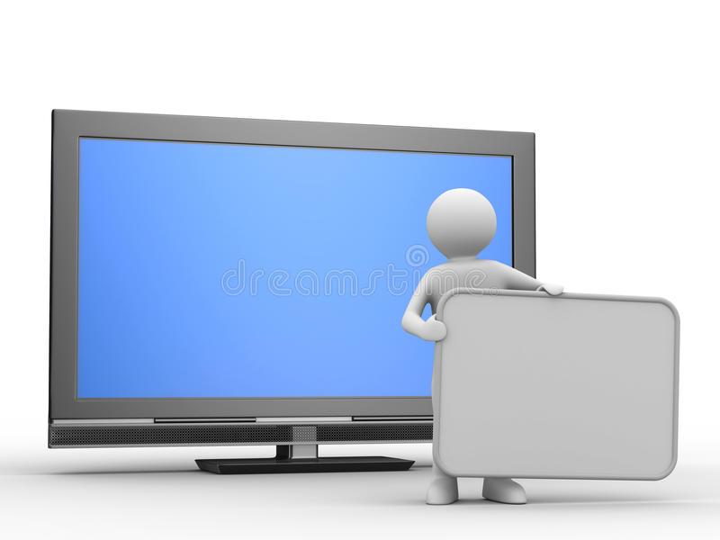 Download TV And Man On White Background Royalty Free Stock Photos - Image: 13626378