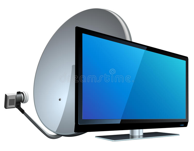 TV med den satellit- antennen stock illustrationer