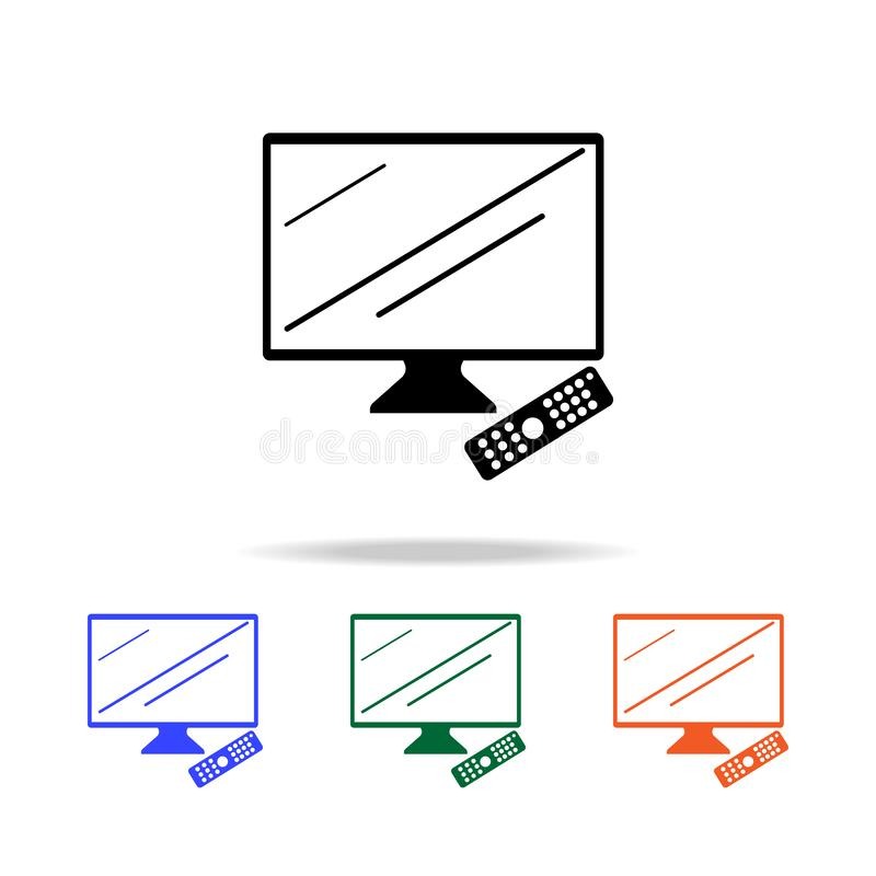 TV med fjärrkontrollsymbolen Beståndsdelar av den enkla rengöringsduksymbolen i mång- färg Högvärdig kvalitets- symbol för grafis stock illustrationer