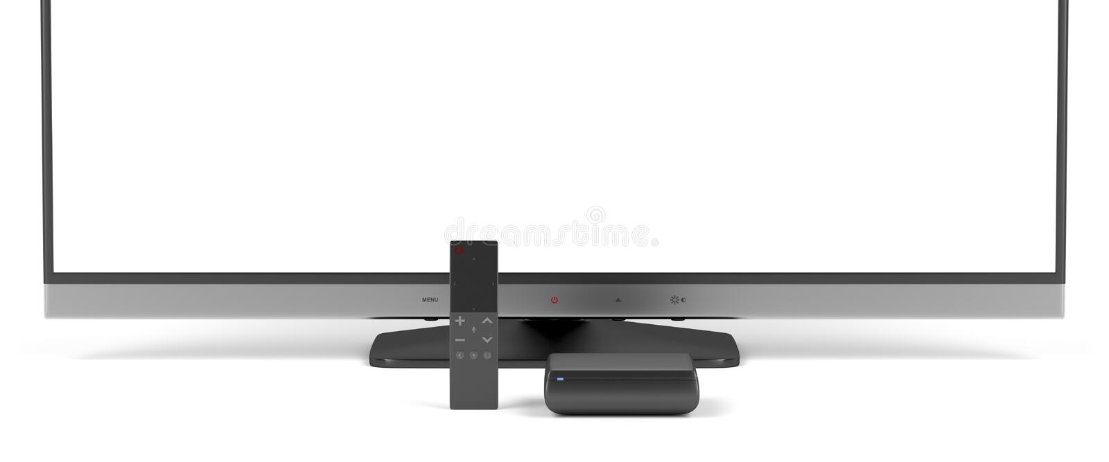 Tv, media player and remote control vector illustration