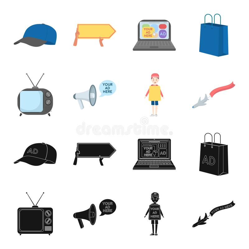 TV, megaphone, a man with a poster, an airplane with a banner.Advertising,set collection icons in black,cartoon style. Vector symbol stock illustration stock illustration
