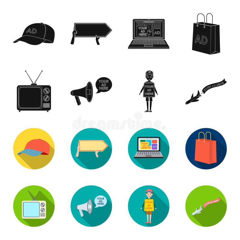 TV, megaphone, a man with a poster, an airplane with a banner.Advertising,set collection icons in black,flet style. Vector symbol stock illustration royalty free illustration