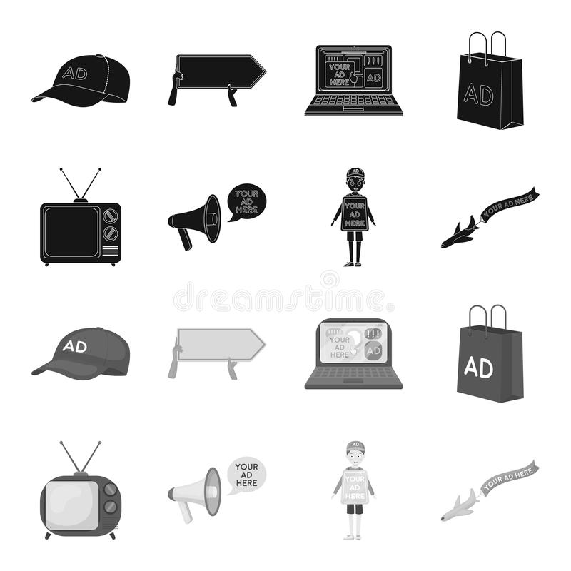 TV, megaphone, a man with a poster, an airplane with a banner.Advertising,set collection icons in black,monochrome style. Vector symbol stock illustration royalty free illustration