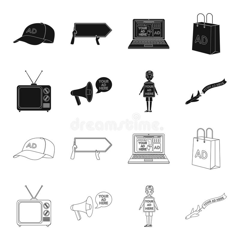 TV, megaphone, a man with a poster, an airplane with a banner.Advertising,set collection icons in black,outline style. Vector symbol stock illustration vector illustration