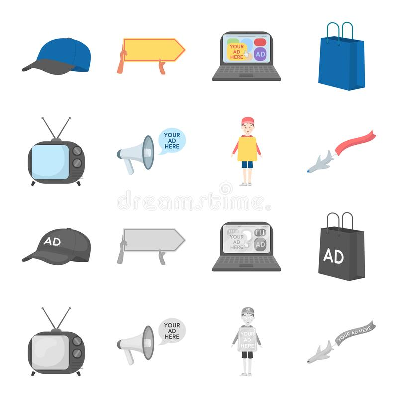 TV, megaphone, a man with a poster, an airplane with a banner.Advertising,set collection icons in cartoon,monochrome. Style vector symbol stock illustration royalty free illustration
