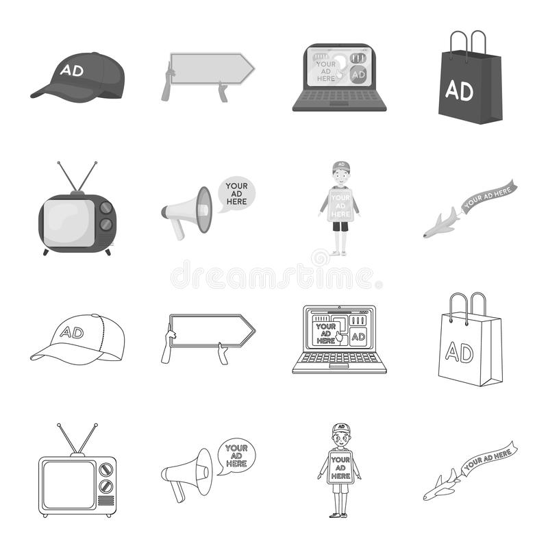 TV, megaphone, a man with a poster, an airplane with a banner.Advertising,set collection icons in outline,monochrome. Style vector symbol stock illustration royalty free illustration