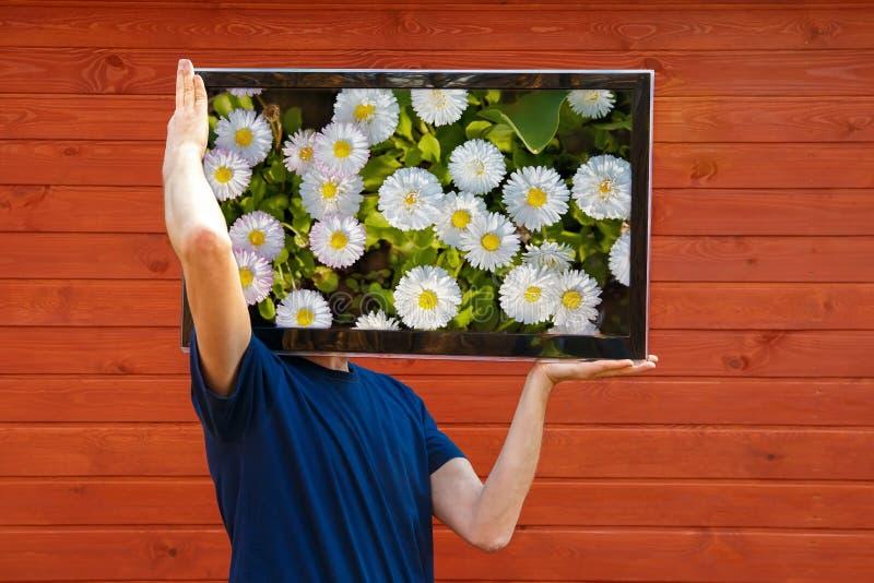 TV-mens TV in plaats van het hoofd royalty-vrije stock fotografie