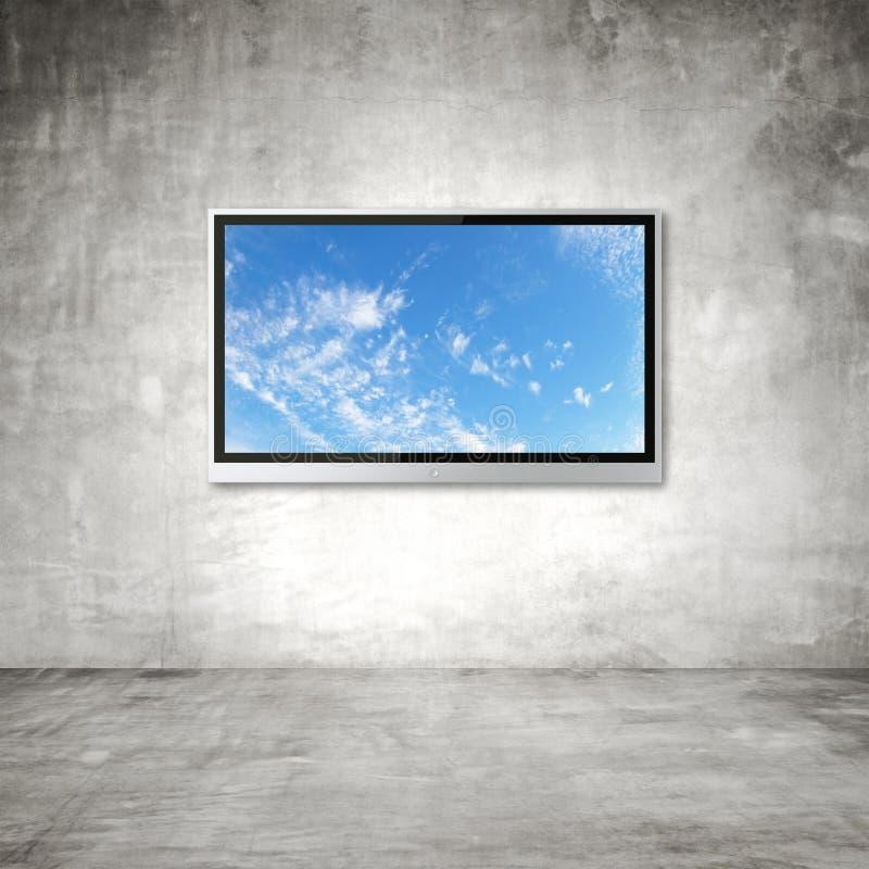 TV met hemel royalty-vrije stock foto's