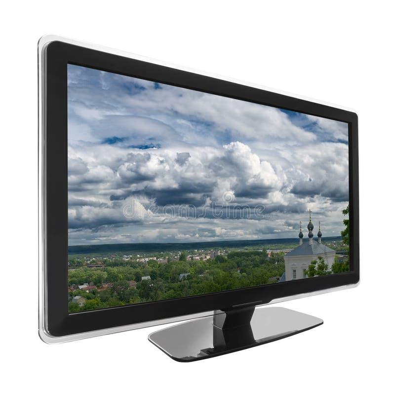 TV met landschap royalty-vrije stock afbeelding
