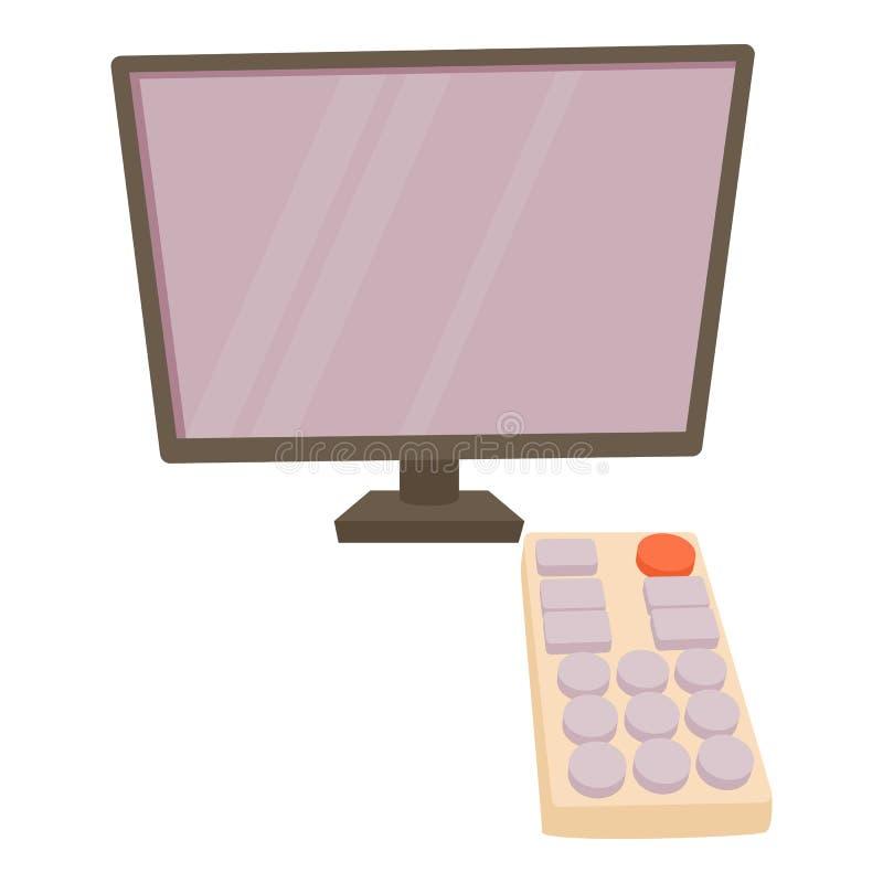 TV met ver pictogram, beeldverhaalstijl royalty-vrije illustratie