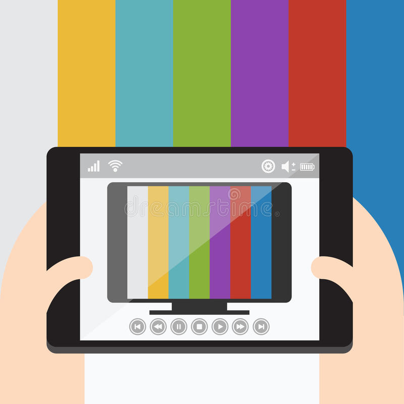 TV On Mobile, Internet Television. Vector Flat Design Stock Vector ...