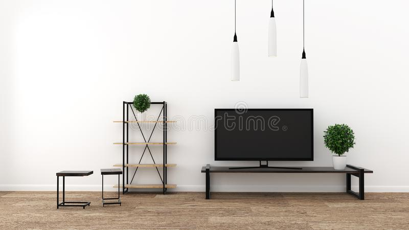 TV in modern empty room, interior - minimal. 3d rendering. Mock up TV in modern empty room, interior - minimal. 3d rendering stock illustration
