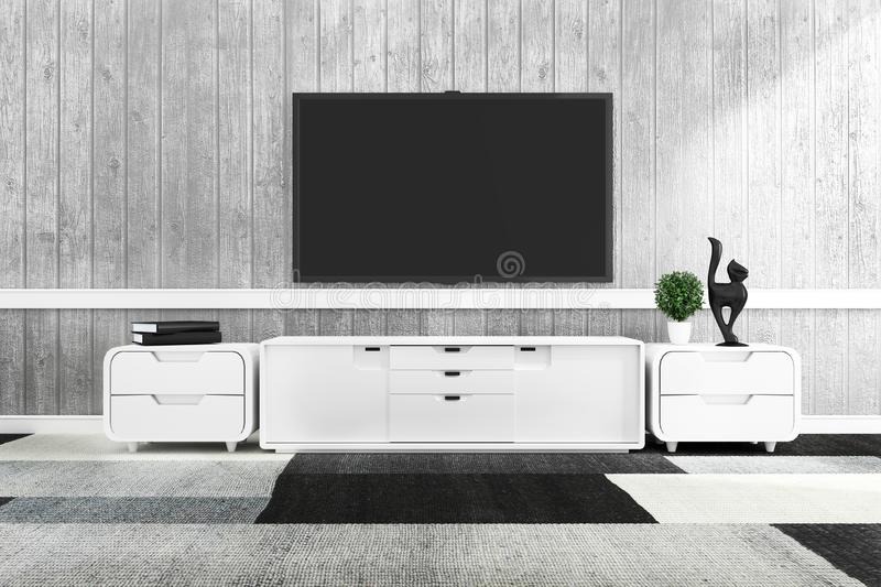TV in modern empty room,minimal designs. 3d rendering. Mock up TV in modern empty room,minimal designs. 3d rendering royalty free illustration