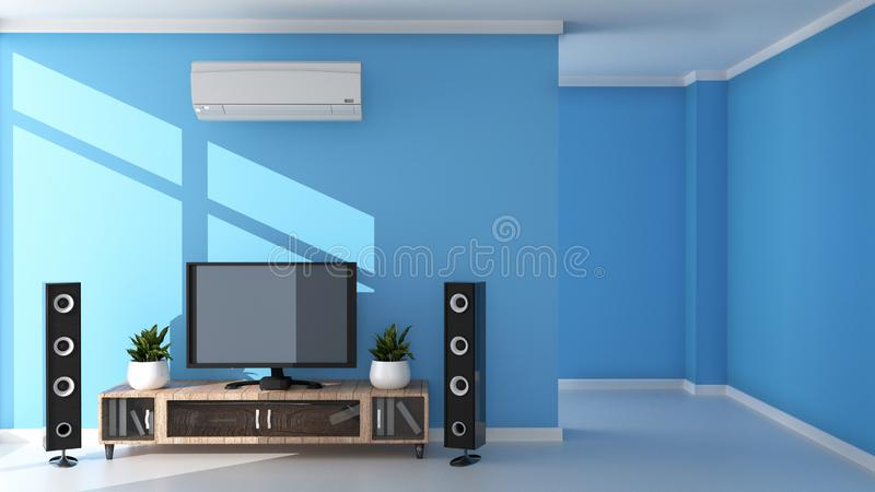 TV Modern living room on light blue wall background. 3D rendering. Mock up TV Modern living room on light blue wall background. 3D rendering royalty free illustration