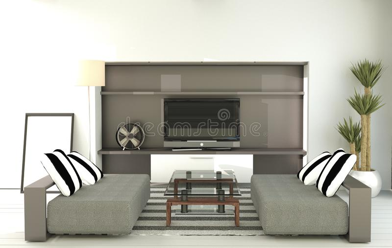 Mock up Tv - Modern room interior - Empty room. 3d rendering. Tv - Modern room interior - Empty room. 3d rendering stock illustration