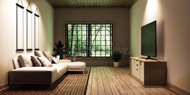 TV in modern white empty room interior,Designed for Japanese style lovers. 3D rednering royalty free illustration