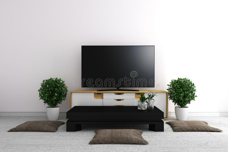 TV in modern white empty room interior minimal designs - Japanese style. 3d rendering. Mock up TV in modern white empty room interior minimal designs - Japanese royalty free illustration