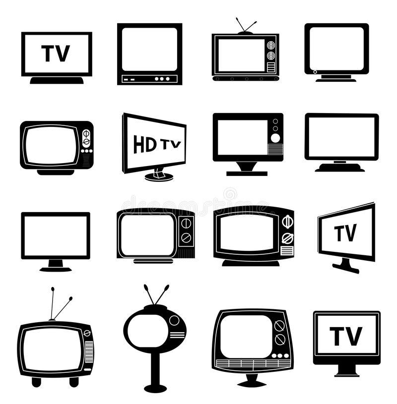 TV monitor icons set. In black royalty free illustration