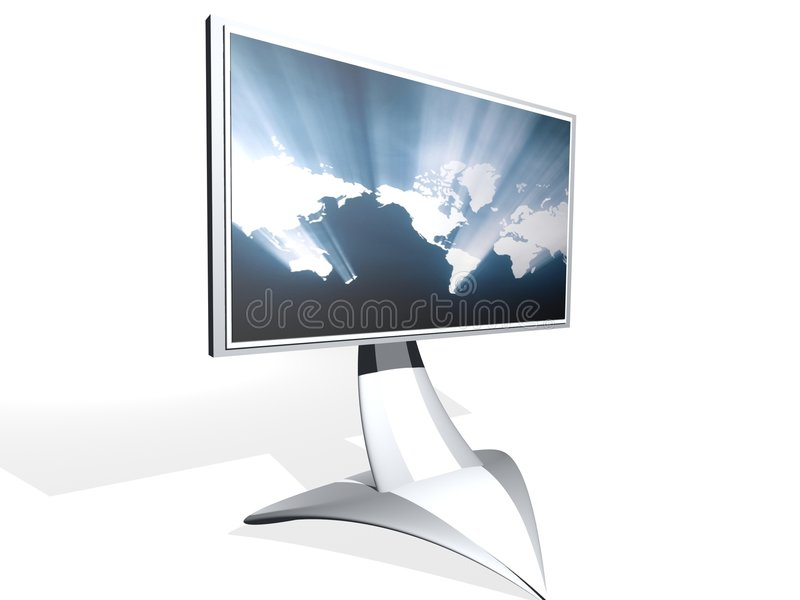 TV monitor with map stock photo