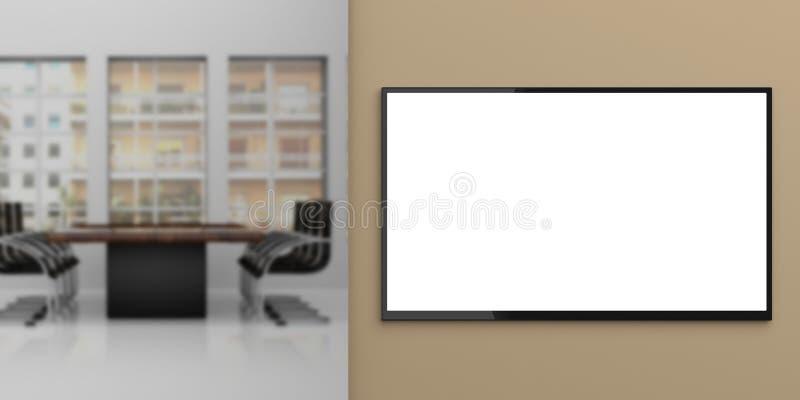 TV monitor na ścianie - pokoju konferencyjnego tło ilustracja 3 d ilustracja wektor