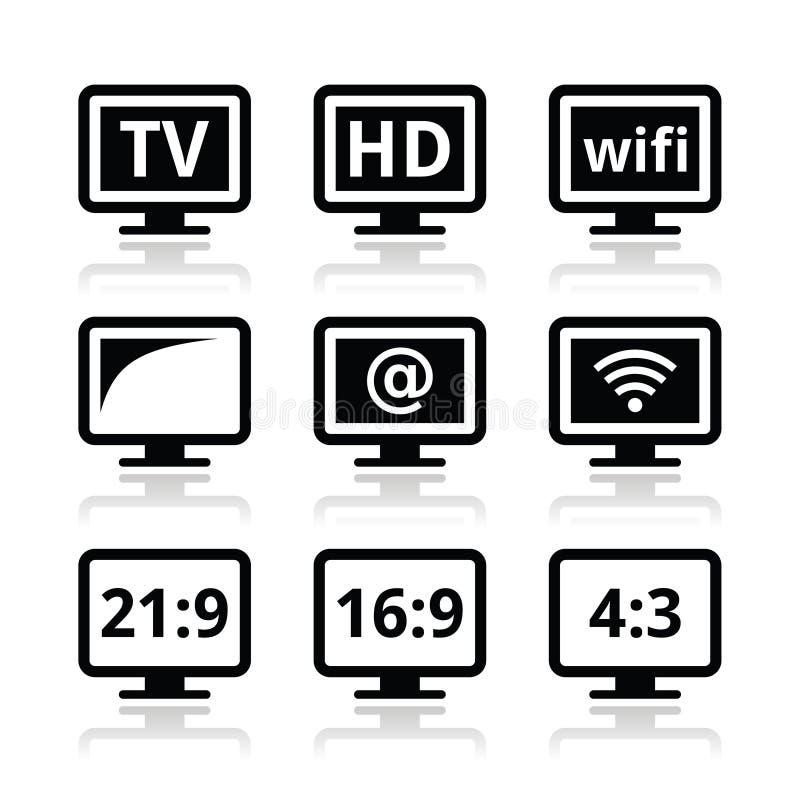 Download TV Monitor, Screen Icons Set Stock Illustration - Image: 32104912