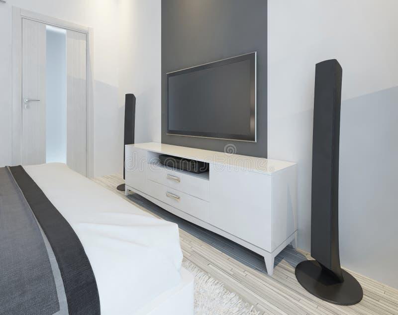 TV and music speakers in modern light bedroom. vector illustration