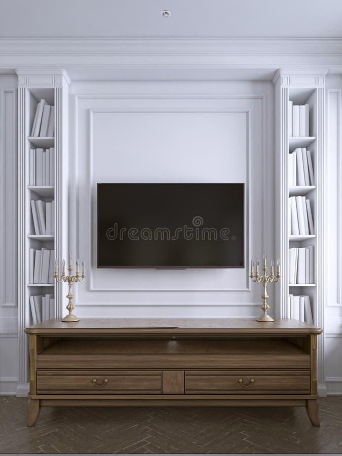 TV na ścianie z gabinetem w klasycznym żywym pokoju, wiele półki na książki na tylnym bielu izoluje tło ilustracji