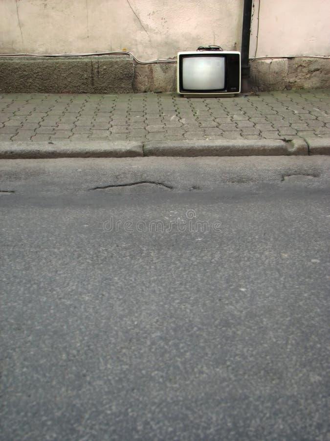 TV nelle vie immagine stock libera da diritti