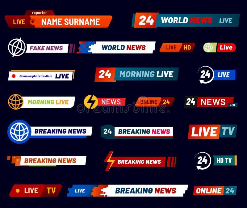 Tv news bar. Television broadcast banner. Vector set. Tv news bar. Television broadcast banner or broadcasting media channel. Reporter interface header morning royalty free illustration