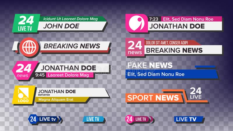 TV News Bars Set Vector. News Banner For TV Streaming. Full Hd, Live Stream. Isolated Illustration. TV News Bars Set Vector. Breaking, Sport News. Media labels vector illustration