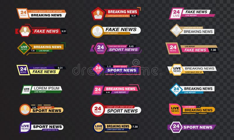 TV News Bars Set Vector, Streaming Video News Sign, Breaking, Sport News. Interface Sign. Isolated vector Illustration. Breaking News set vector illustration