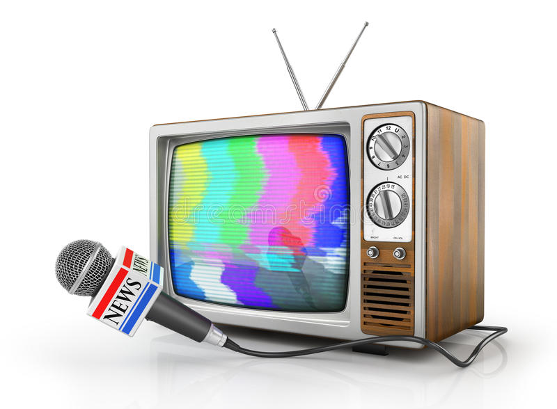Tv news or reportage concept. Microphone due to old TV on a white background. Microphone and television. 3d illustration royalty free illustration