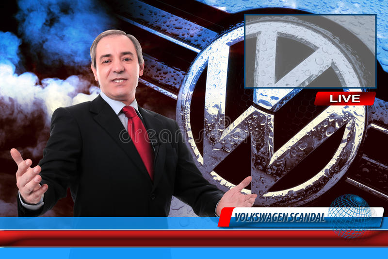 TV News reporter on Volkswagen fraud scandal. TV News reporter screen on recent Volkswagen recent emissions test fraud scandal royalty free stock photos