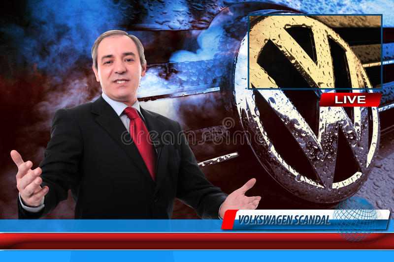 TV News reporter on Volkswagen fraud scandal stock photography