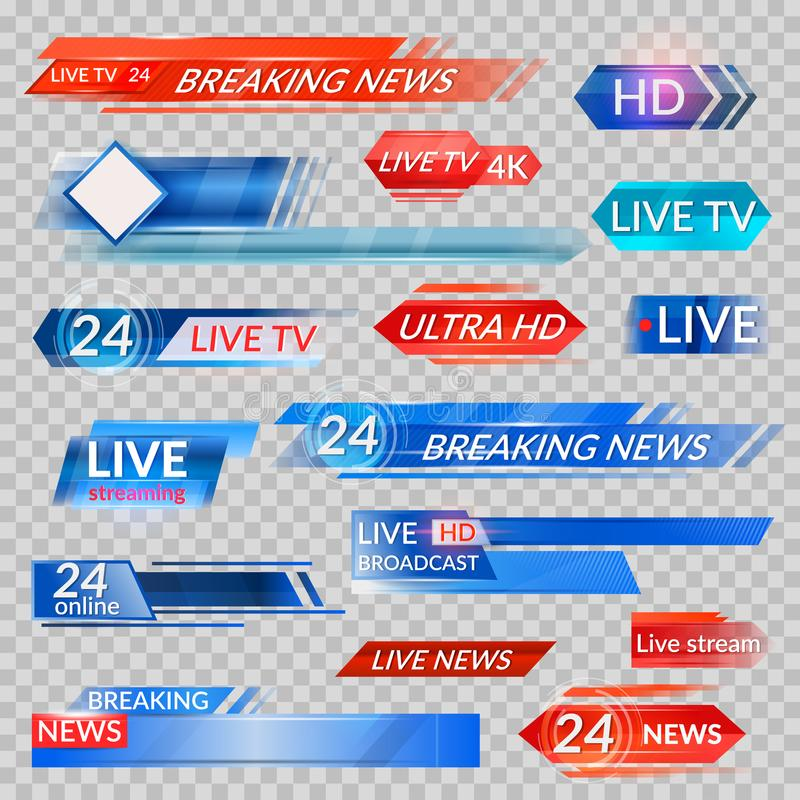 Tv news and streaming video banners. Live, hd, 24 hours online display advertisements, commercials that appear before news or programmers. Vector flat style royalty free illustration