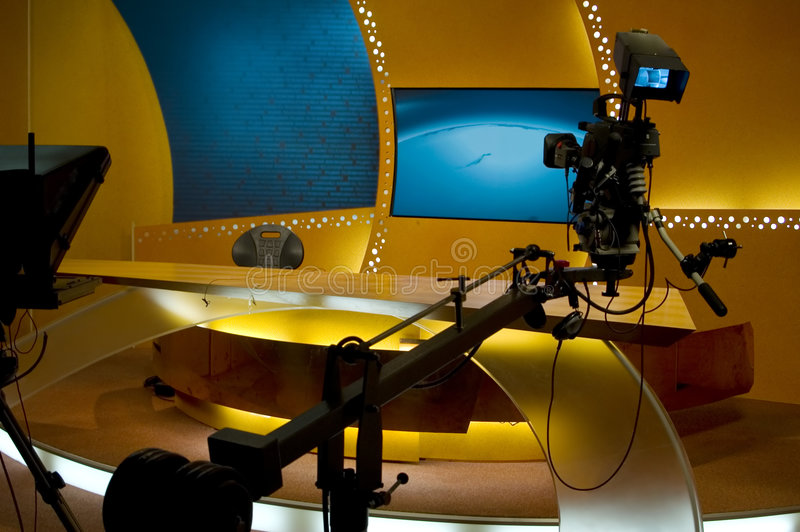TV news studio. For broadcastin production
