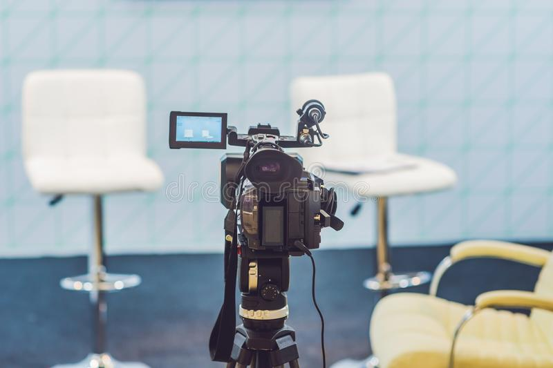 TV NEWS studio with camera and lights stock photography