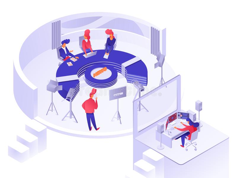 TV news studio isometric. Vector illustration isolated on white stock illustration