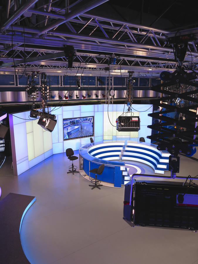TV NEWS studio with light equipment ready for recording royalty free stock photography