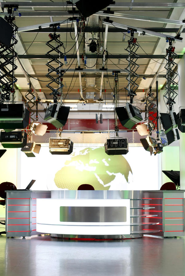 TV news studio setup - television interior royalty free stock photography