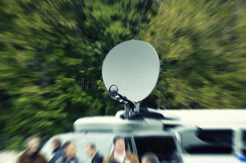 Download Tv News Truck In Intentional Motion Blur Stock Image - Image of mirror, blurry: 16569787