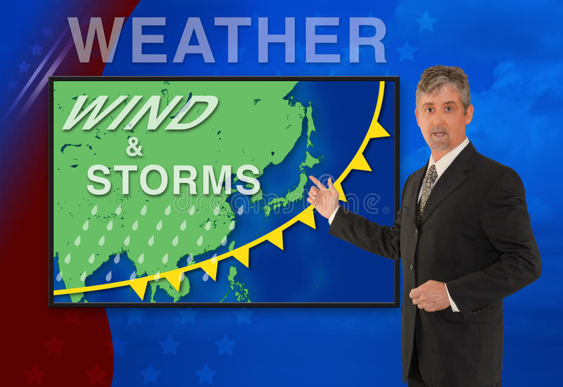 TV news weather man meteorologist anchorman reporter with map of Asia on the screen. A tv television news weather man meteorologist anchorman is reporting with a royalty free stock images