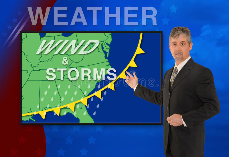 TV news weather meteorologist anchorman reporter. A tv television news weather meteorologist anchorman is reporting with a Wind & Storm graphic over a stormy royalty free stock photos